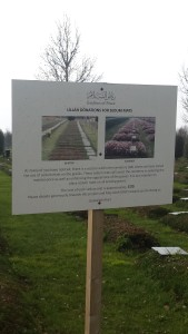 Appeal for support to plant sedums on the graves. Gardens of Peace Muslim cemetery, Hainult, Essex.